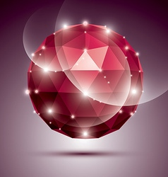 Abstract 3D ruby gala sphere with gemstone effect vector image