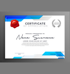 Abstract blue certificate of appreciation template vector