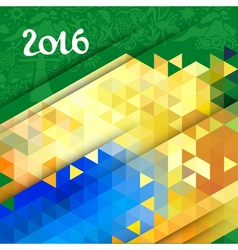 Abstract geometric background in Brazil color vector