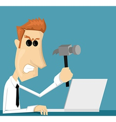 Angry cartoon office worker vector image