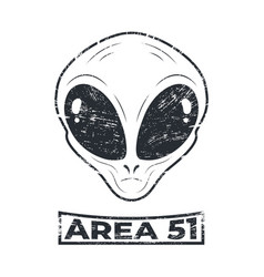Area 51 with alien head logo in grunge style vector