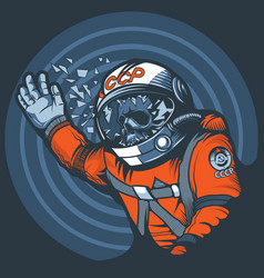 Astronaut with a broken glass a spacesuit vector