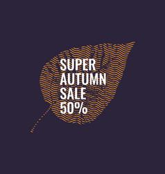 Autumn sale orange leaf on a dark background vector