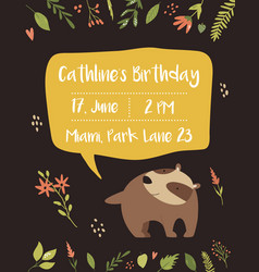 babirthday invitation card funny cute badger vector image
