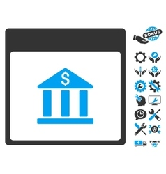 Bank Building Calendar Page Icon With Bonus vector