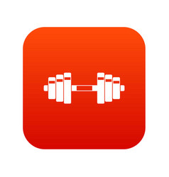 barbell icon digital red vector image