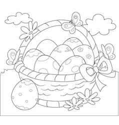 basket of easter eggs coloring vector image