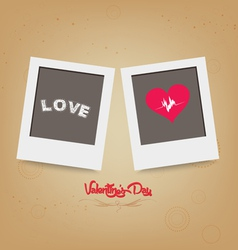 Blank instant two frame photo on background vector image
