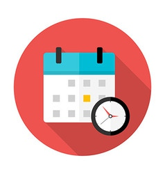 Calendar and clock Time circle icon vector image