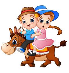 Cartoon boy and girl riding a horse vector