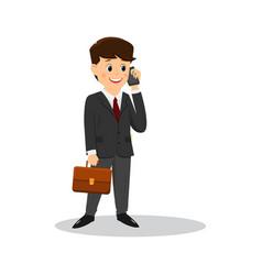 Cartoon businessman talking on the phone vector