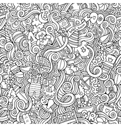 Cartoon doodle children seamless pattern vector image