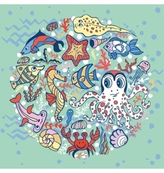 Cartoon Funny Fish Sea Life circle background vector image