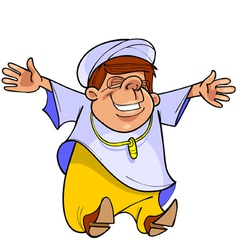 cartoon man in Muslim clothing is happy vector image vector image