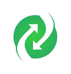 Circular green flow arrow symbol logo vector