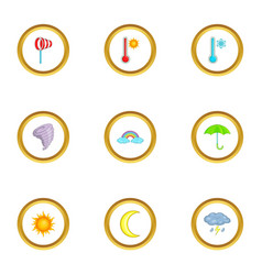 climate icons set cartoon style vector image