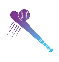 contour baseball bat with ball to play sport vector image
