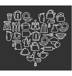 Cooking set kitchenware line icons in heart vector