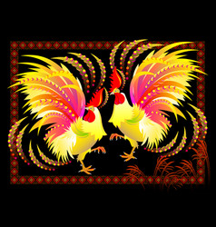 Couple fantastic chinese roosters with bright vector