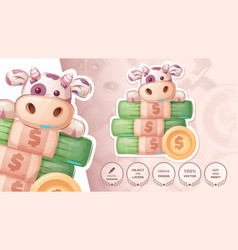 Cow with money - cute sticker vector