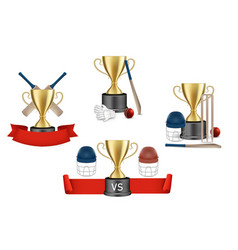 cricket championship reward set isolated vector image