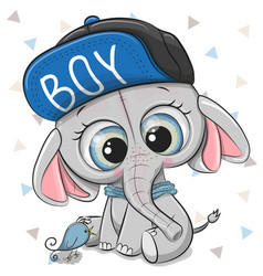 Cute cartoon elephant on a white background vector