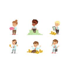 Cute kids millionaires set rich happy little vector