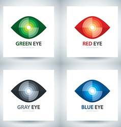 Cyber eye icon set vector image