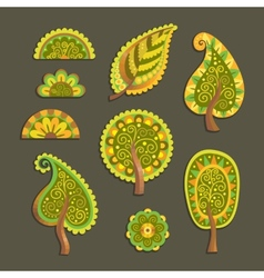 Decorative flat style trees vector