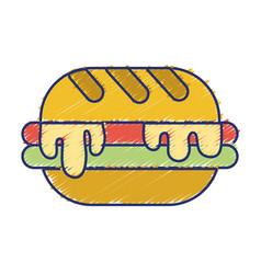 Delicious hamburger unhealthy fast food vector