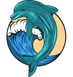 dolphin who is jumping out sea water on vector image