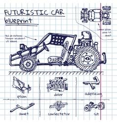 Doodle futuristic car scheme in exercise vector