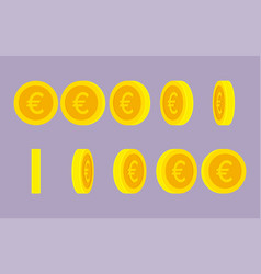 euro coin rotating gif animation sprite sheet vector image