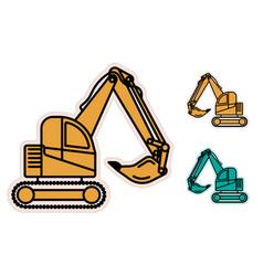 Excavator heavy equipment flat icons vector