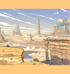 Fantastic city desert concept art vector