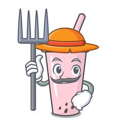 Farmer raspberry bubble tea character cartoon vector