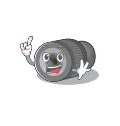 Finger zoom lens on mascot table vector