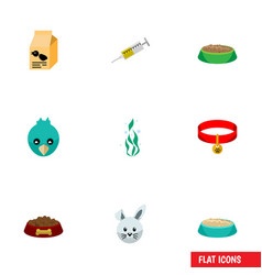 Flat icon animal set of vaccine bunny feeding vector