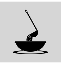 Flat in black and white bowl of soup vector