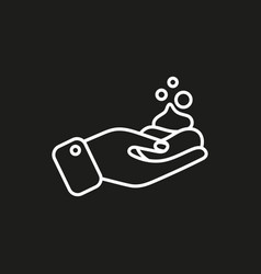 Foam on hand simple icon on black background vector