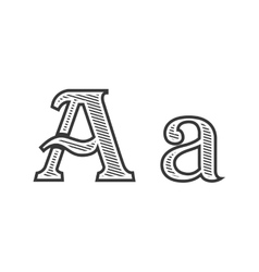 Font tattoo engraving letter A with shading vector image