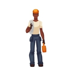 Full length young and handsome african worker with vector image