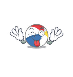 Funny beach ball mascot design with tongue out vector