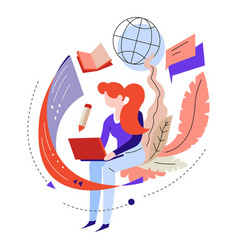 Girl learning through laptop online education or vector