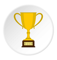 Gold trophy cup icon circle vector