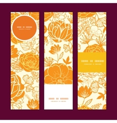 Golden art flowers vertical banners set vector