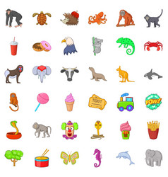 Good zoo icons set cartoon style vector