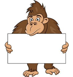 gorilla with blank sign vector image