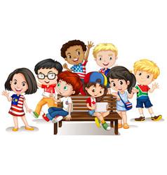group of international children vector image
