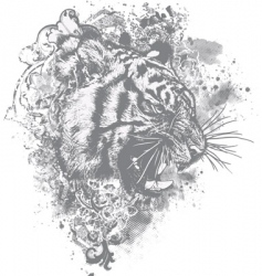 grunge tiger floral illustration vector image